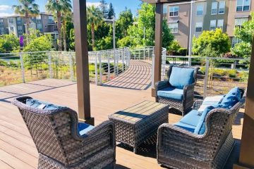 Fruitdale Station Apartments Outdoor Walkway & Seating Area