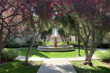 Catalina Luxury Apartments Outdoor Courtyard & Water Fountain