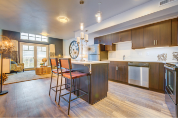 Midtown 360 Apartment Interior Living Room & Kitchen