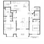 Apartment 2BR 1086SF Floor Plan