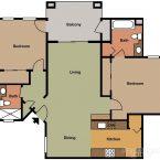 Apartment Gemello Village 2br 2ba Floor Plan