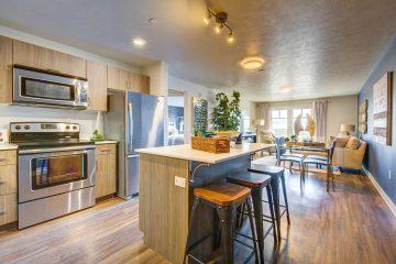Midtown 360 Apartment Unit Kitchen & Living Room