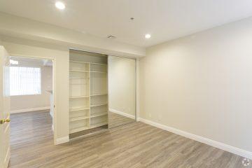 Villa Doheny Apartment Unit Bedroom with Hardwood Floors