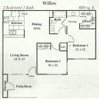 Apartment Willow Floor Plan