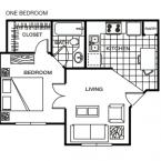 Apartment **1 BEDROOM ** Floor Plan