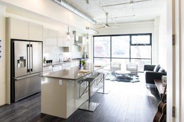 Paragon Station Apartment Unit Kitchen & Living Room