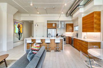 Paragon Station Apartment Unit Living Room & Kitchen