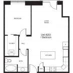 Apartment 203 - 1x1 F Floor plan